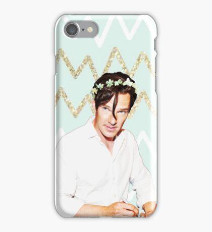Benedict Cumberbatch- Blue and Gold Chevron iPhone Case/Skin