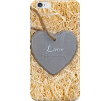 wooden love heart in saying love is a sweet thing iPhone Case/Skin
