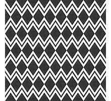 Stylish abstract seamless pattern with black graphic ornament with zigzag and rhombus Photographic Print