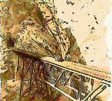 A digital painting of The Little Inferno, Peru (trestle between two perpendicular walls thousands of feet high) by Dennis Melling
