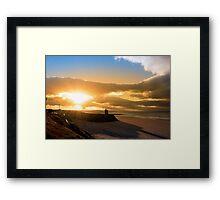 yellow sunshine over the Ballybunion beach and castle Framed Print