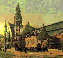 A digital painting of The Railway Station, Bruges, Belgium, in the 19th century by Dennis Melling
