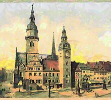 A digital painting of The City Hall, Chemnitz, Saxony in the 19th century by Dennis Melling