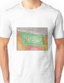 Vintage 1939 Montana map - gift for her - fashion - unique - birthday gift - special memorial gift idea Unisex T-Shirt