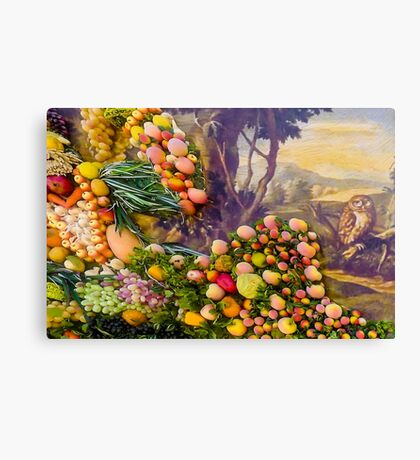 3D Fruits, vegetables and a landscape with an owl Canvas Print