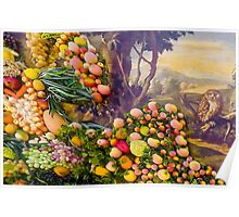 3D Fruits, vegetables and a landscape with an owl Poster