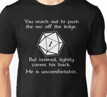 You reach out to push the orc off the ledge Unisex T-Shirt