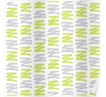 Green and Gray Brush Pattern Poster