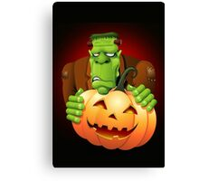 Frankenstein Monster Cartoon with Pumpkin Canvas Print