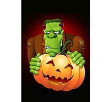 Frankenstein Monster Cartoon with Pumpkin Photographic Print
