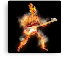 Flaming Skeleton Base Guitarist Canvas Print