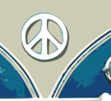 volkswagen blue hippie van cool hippie rock n roll psychecelic rock jimi hendrix flower kids peace and love t shirts Sticker