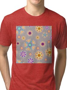 Abstract floral pattern with yellow flowers on gray Tri-blend T-Shirt