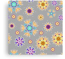 Abstract floral pattern with yellow flowers on gray Canvas Print