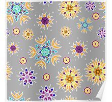 Abstract floral pattern with yellow flowers on gray Poster