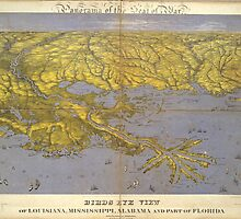 Vintage Pictorial Map of The Gulf (1861) by BravuraMedia