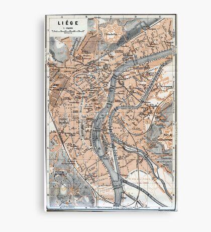 Vintage Map of Liège Belgium (1905) Canvas Print