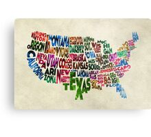 States of United States Typographic Map - Parchment Style Metal Print