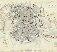 Vintage Map of Madrid Spain (1831) by BravuraMedia