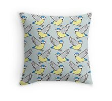 Blue Tit Flying Repeat Throw Pillow