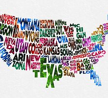 States of United States Typographic Map by A. TW