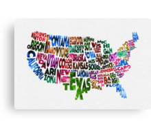 States of United States Typographic Map Canvas Print