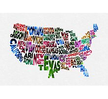 States of United States Typographic Map Photographic Print