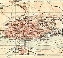 Vintage Map of Mainz Germany (1905) by BravuraMedia