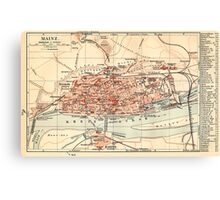 Vintage Map of Mainz Germany (1905) Canvas Print