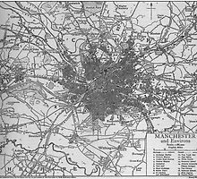 Vintage Map of Manchester England (1911)  by BravuraMedia