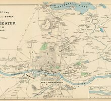 Vintage Map of Manchester NH (1892) by BravuraMedia