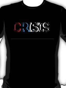 CRISIS - Red, White and Blue on Black T-Shirt
