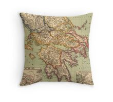 Vintage Map of Greece (1903)  Throw Pillow