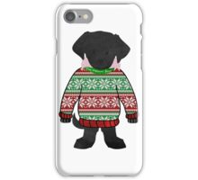 Black Lab Puppy Wearing Preppy Christmas Snowflake Sweater iPhone Case/Skin