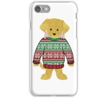 Yellow Lab Puppy Wearing Preppy Christmas Snowflake Sweater iPhone Case/Skin