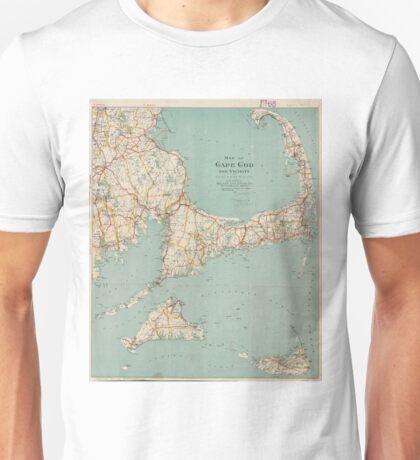 Vintage Map of Cape Cod (1917)  Unisex T-Shirt