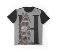 H is for Haunted House Watercolor Painting Graphic T-Shirt