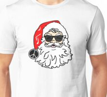hippie santa claus peace sign funny merry christmas hippies peace and love holiday t shirts Unisex T-Shirt