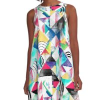 Geometric abstract watercolour  A-Line Dress