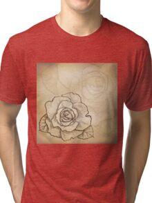 Sketch rose background Tri-blend T-Shirt