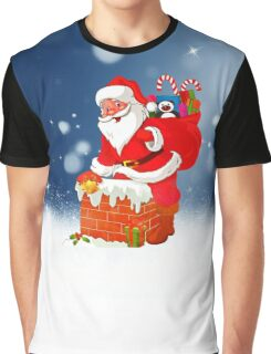 Cute Santa Claus with Gift Bag Christmas Snow Stars Graphic T-Shirt