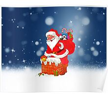 Cute Santa Claus with Gift Bag Christmas Snow Stars Poster