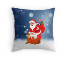 Cute Santa Claus with Gift Bag Christmas Snow Stars Throw Pillow