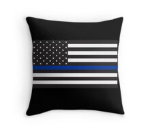 Blue Lives Matter Flag for Police Support Throw Pillow