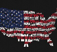 United States Typographic Map Flag Black Background by A. TW