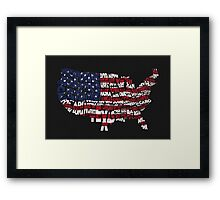 United States Typographic Map Flag Black Background Framed Print