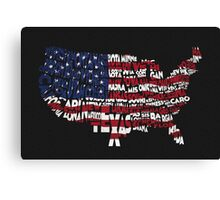 United States Typographic Map Flag Black Background Canvas Print