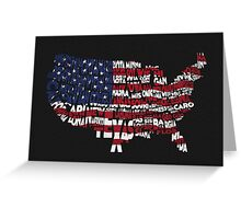 United States Typographic Map Flag Black Background Greeting Card