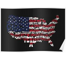 United States Typographic Map Flag Black Background Poster