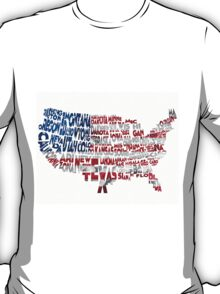 United States Typographic Map Flag T-Shirt